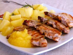costillitas de cerdo manzanas
